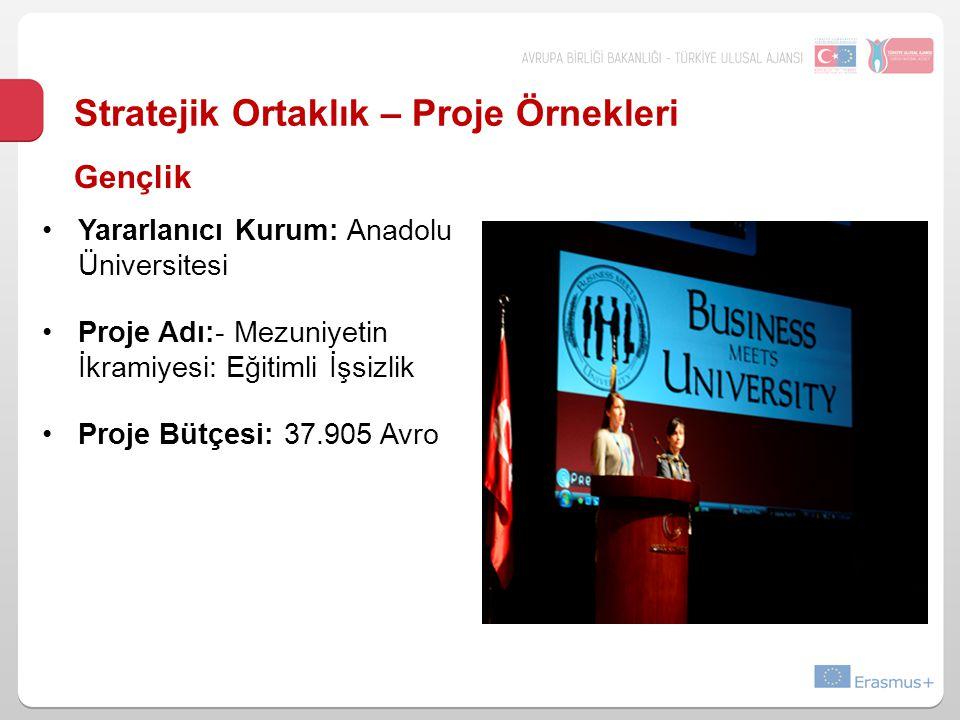 Stratejik Ortaklık – Proje Örnekleri Yararlanıcı Kurum: Anadolu Üniversitesi Proje Adı:- Mezuniyetin İkramiyesi: Eğitimli İşsizlik Proje Bütçesi: 37.9
