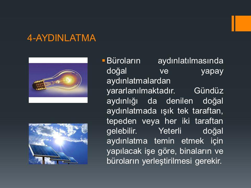 4-AYDINLATMA  Büroların aydınlatılmasında doğal ve yapay aydınlatmalardan yararlanılmaktadır. Gündüz aydınlığı da denilen doğal aydınlatmada ışık tek