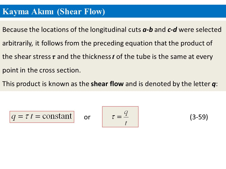 Kayma Akımı (Shear Flow) (3-59)or Because the locations of the longitudinal cuts a-b and c-d were selected arbitrarily, it follows from the preceding