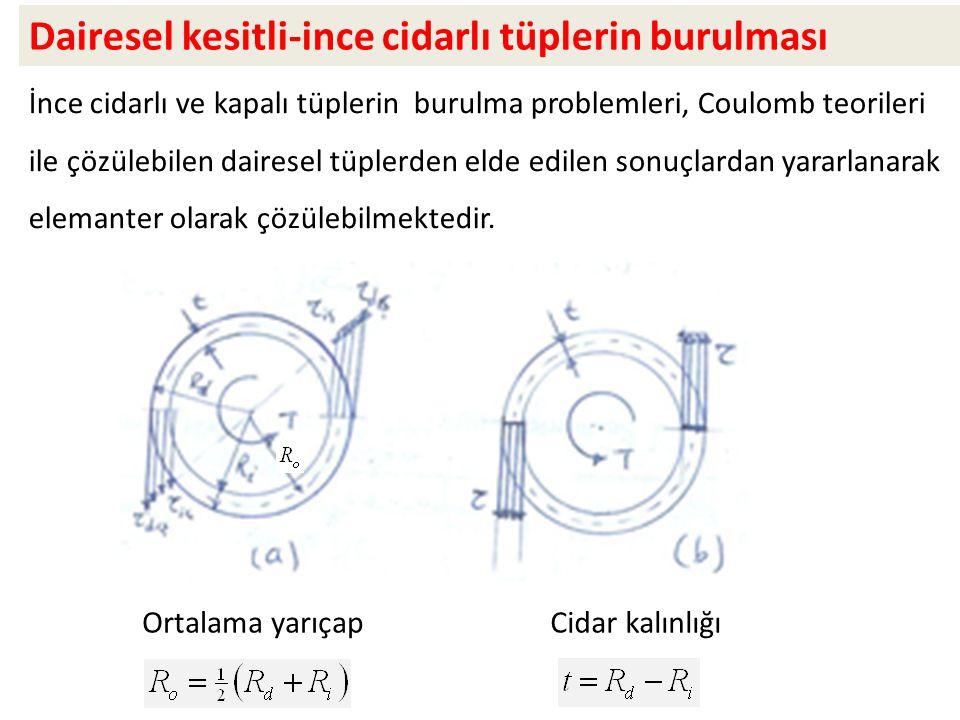Dairesel kesitli-ince cidarlı tüplerin burulması İnce cidarlı ve kapalı tüplerin burulma problemleri, Coulomb teorileri ile çözülebilen dairesel tüplerden elde edilen sonuçlardan yararlanarak elemanter olarak çözülebilmektedir.