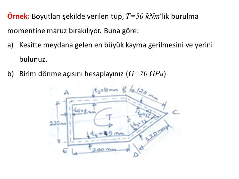 Örnek: Boyutları şekilde verilen tüp, T=50 kNm 'lik burulma momentine maruz bırakılıyor.
