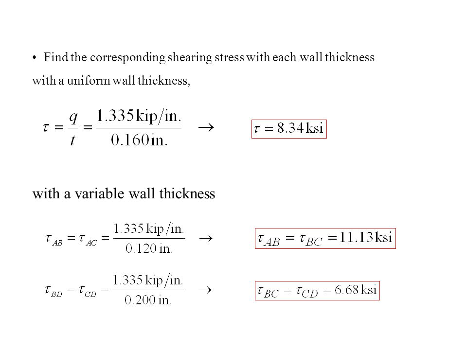 Find the corresponding shearing stress with each wall thickness with a uniform wall thickness, with a variable wall thickness