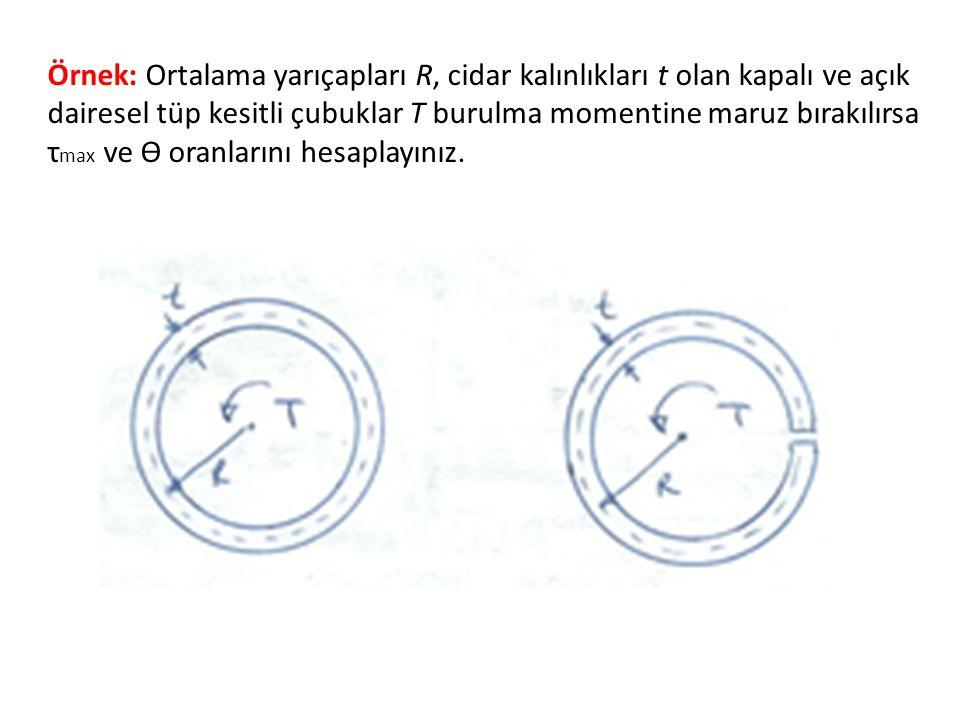 Örnek: Ortalama yarıçapları R, cidar kalınlıkları t olan kapalı ve açık dairesel tüp kesitli çubuklar T burulma momentine maruz bırakılırsa τ max ve ϴ oranlarını hesaplayınız.
