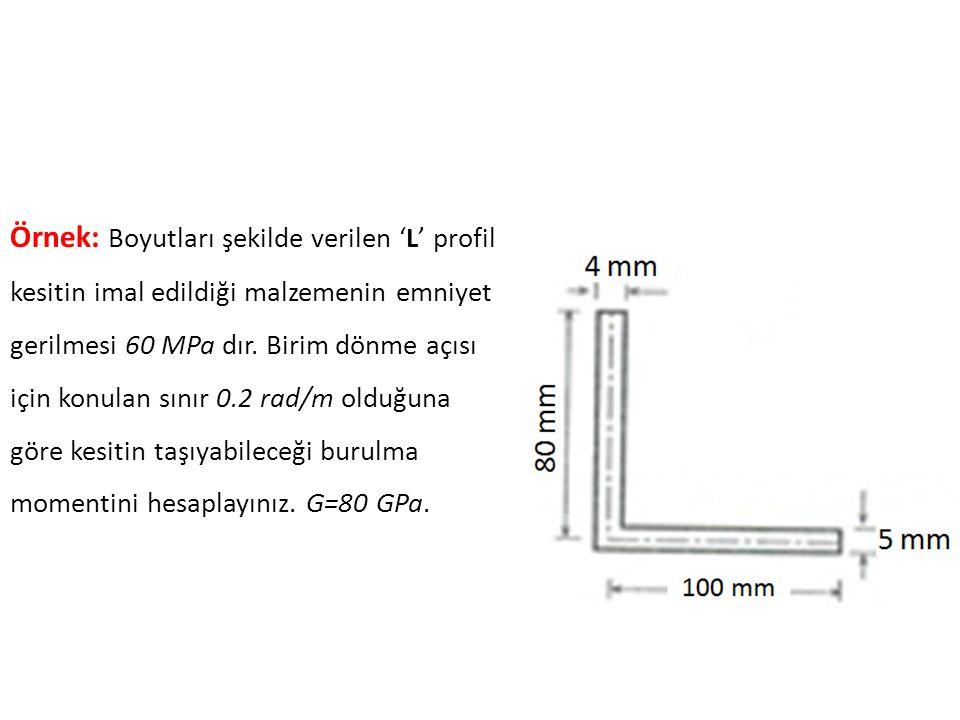 Örnek: Boyutları şekilde verilen 'L' profil kesitin imal edildiği malzemenin emniyet gerilmesi 60 MPa dır.