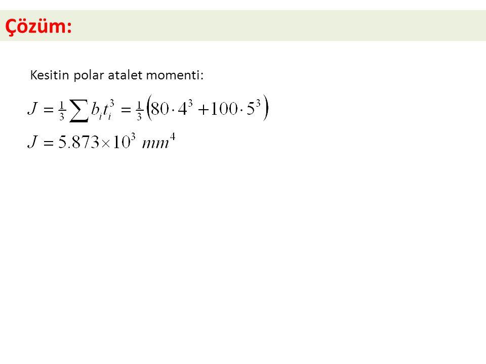 Çözüm: Kesitin polar atalet momenti: