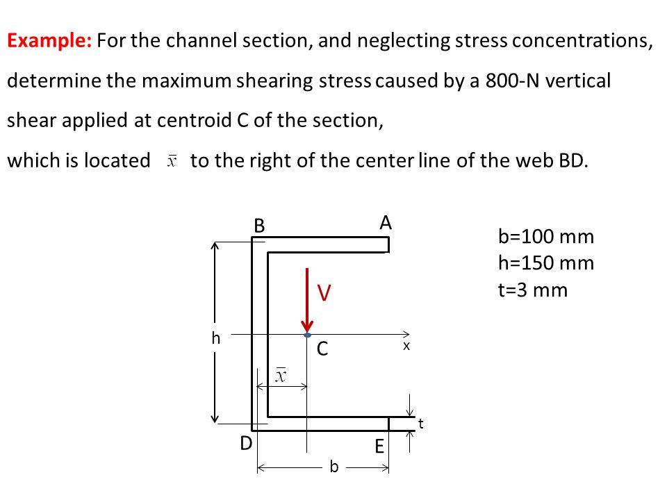 b=100 mm h=150 mm t=3 mm Example: For the channel section, and neglecting stress concentrations, determine the maximum shearing stress caused by a 800-N vertical shear applied at centroid C of the section, which is located to the right of the center line of the web BD.