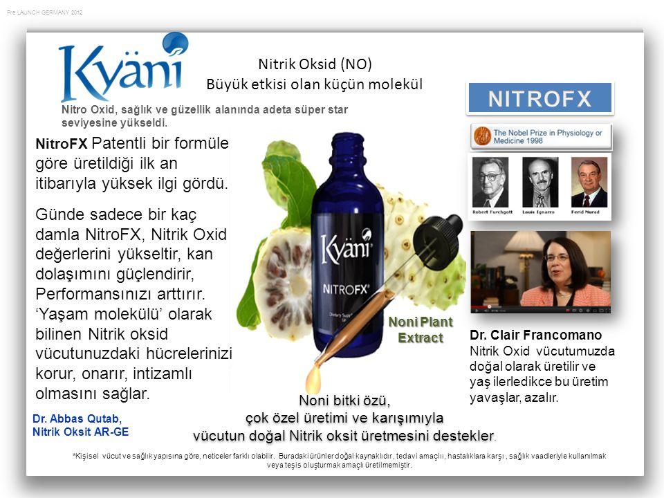 Pre LAUNCH GERMANY 2012 Dr. Clair Francomano Nitrik Oxid vücutumuzda doğal olarak üretilir ve yaş ilerledikce bu üretim yavaşlar, azalır. Noni Plant E