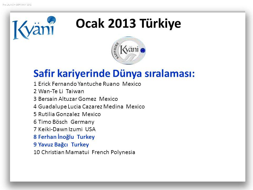 Pre LAUNCH GERMANY 2012 Ocak 2013 Türkiye Safir kariyerinde Dünya sıralaması: 1 Erick Fernando Yantuche Ruano Mexico 2 Wan-Te Li Taiwan 3 Bersain Altu