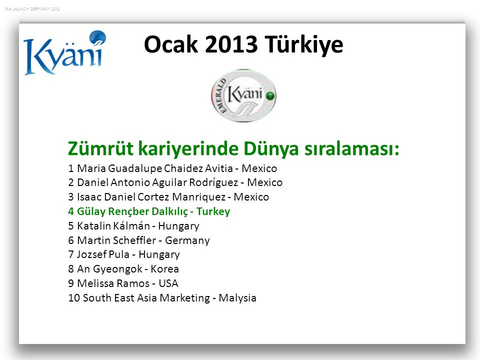 Pre LAUNCH GERMANY 2012 Ocak 2013 Türkiye Zümrüt kariyerinde Dünya sıralaması: 1 Maria Guadalupe Chaidez Avitia - Mexico 2 Daniel Antonio Aguilar Rodríguez - Mexico 3 Isaac Daniel Cortez Manriquez - Mexico 4 Gülay Rençber Dalkılıç - Turkey 5 Katalin Kálmán - Hungary 6 Martin Scheffler - Germany 7 Jozsef Pula - Hungary 8 An Gyeongok - Korea 9 Melissa Ramos - USA 10 South East Asia Marketing - Malysia