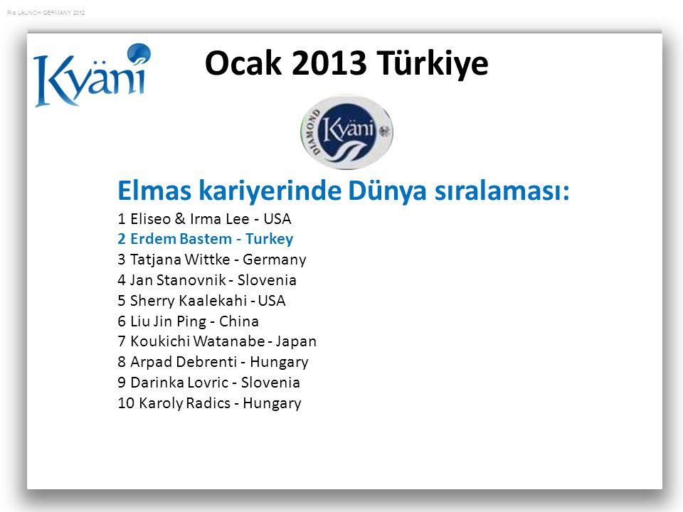 Pre LAUNCH GERMANY 2012 Ocak 2013 Türkiye Elmas kariyerinde Dünya sıralaması: 1 Eliseo & Irma Lee - USA 2 Erdem Bastem - Turkey 3 Tatjana Wittke - Ger