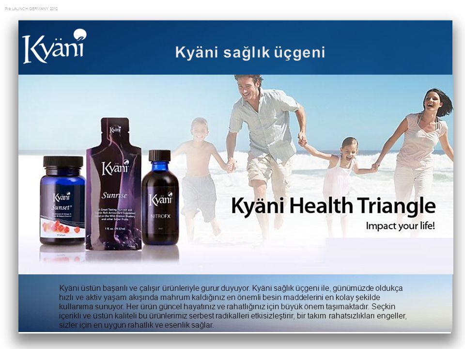 Pre LAUNCH GERMANY 2012 Kyäni üstün başarılı ve çalışır ürünleriyle gurur duyuyor. Kyäni sağlık üçgeni ile, günümüzde oldukça hızlı ve aktiv yaşam akı