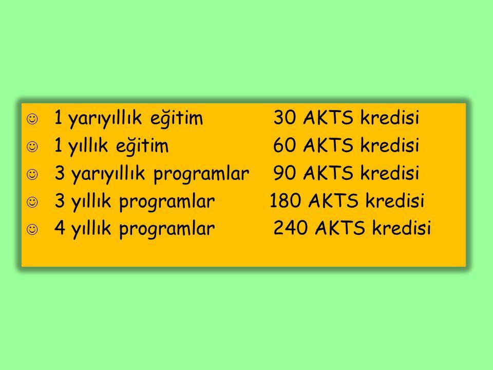 1 yarıyıllık eğitim30 AKTS kredisi 1 yıllık eğitim60 AKTS kredisi 3 yarıyıllık programlar90 AKTS kredisi 3 yıllık programlar 180 AKTS kredisi 4 yıllık