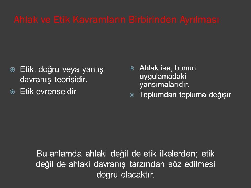 Ahlak ve Etik Kavramların Birbirinden Ayrılması  Ahlak ise, bunun uygulamadaki yansımalarıdır.