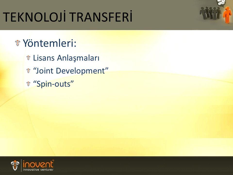 Yöntemleri: Lisans Anlaşmaları Joint Development Spin-outs TEKNOLOJİ TRANSFERİ