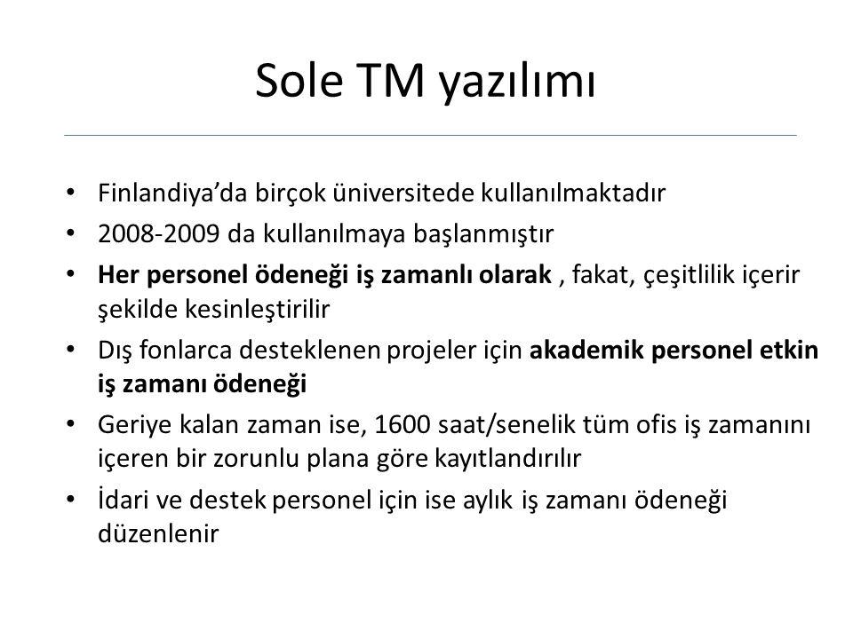Sole TM yazılımı Finlandiya'da birçok üniversitede kullanılmaktadır 2008-2009 da kullanılmaya başlanmıştır Her personel ödeneği iş zamanlı olarak, fak