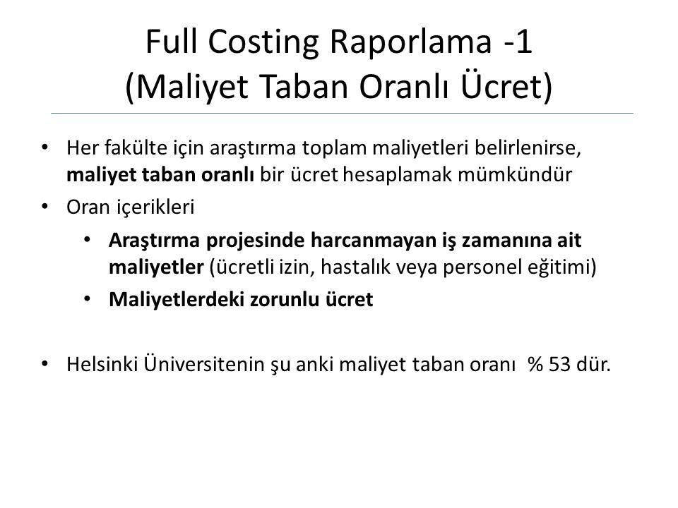 Full Costing Raporlama -1 (Maliyet Taban Oranlı Ücret) Her fakülte için araştırma toplam maliyetleri belirlenirse, maliyet taban oranlı bir ücret hesaplamak mümkündür Oran içerikleri Araştırma projesinde harcanmayan iş zamanına ait maliyetler (ücretli izin, hastalık veya personel eğitimi) Maliyetlerdeki zorunlu ücret Helsinki Üniversitenin şu anki maliyet taban oranı % 53 dür.