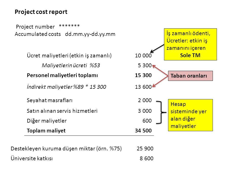 Project cost report Project number ******* Accumulated costs dd.mm.yy-dd.yy.mm Ücret maliyetleri (etkin iş zamanlı)10 000 Maliyetlerin ücreti %535 300 Personel maliyetleri toplamı15 300 İndirekt maliyetler %89 * 15 30013 600 Seyahat masrafları2 000 Satın alınan servis hizmetleri3 000 Diğer maliyetler600 Toplam maliyet34 500 Destekleyen kuruma düşen miktar (örn.