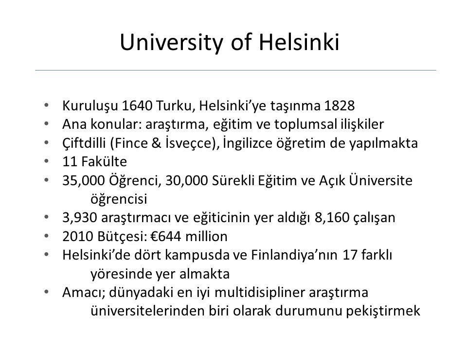 University of Helsinki Kuruluşu 1640 Turku, Helsinki'ye taşınma 1828 Ana konular: araştırma, eğitim ve toplumsal ilişkiler Çiftdilli (Fince & İsveçce), İngilizce öğretim de yapılmakta 11 Fakülte 35,000 Öğrenci, 30,000 Sürekli Eğitim ve Açık Üniversite öğrencisi 3,930 araştırmacı ve eğiticinin yer aldığı 8,160 çalışan 2010 Bütçesi: €644 million Helsinki'de dört kampusda ve Finlandiya'nın 17 farklı yöresinde yer almakta Amacı; dünyadaki en iyi multidisipliner araştırma üniversitelerinden biri olarak durumunu pekiştirmek