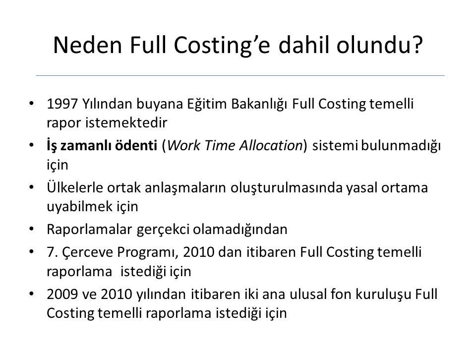 Neden Full Costing'e dahil olundu? 1997 Yılından buyana Eğitim Bakanlığı Full Costing temelli rapor istemektedir İş zamanlı ödenti (Work Time Allocati