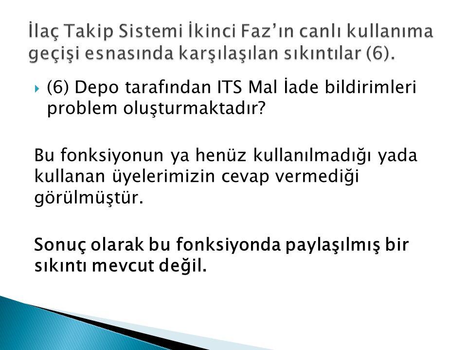  (6) Depo tarafından ITS Mal İade bildirimleri problem oluşturmaktadır.