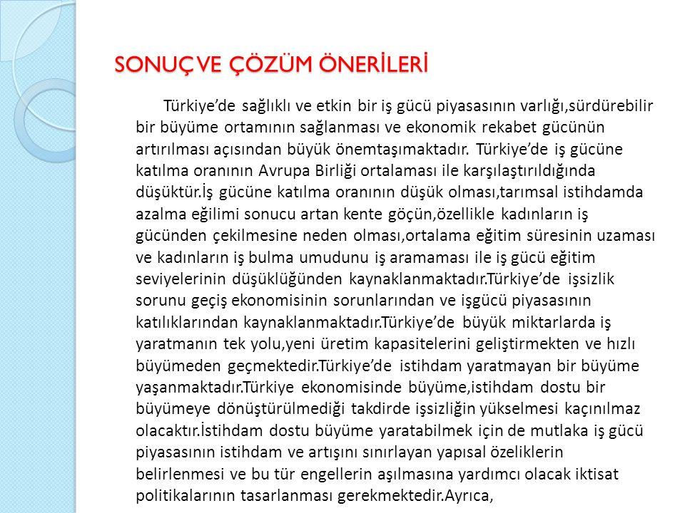 SONUÇ VE ÇÖZÜM ÖNER İ LER İ Türkiye'de sağlıklı ve etkin bir iş gücü piyasasının varlığı,sürdürebilir bir büyüme ortamının sağlanması ve ekonomik rekabet gücünün artırılması açısından büyük önemtaşımaktadır.