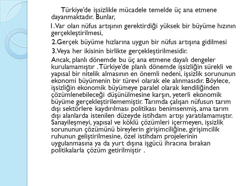 Türkiye'de işsizlikle mücadele temelde üç ana etmene dayanmaktadır.
