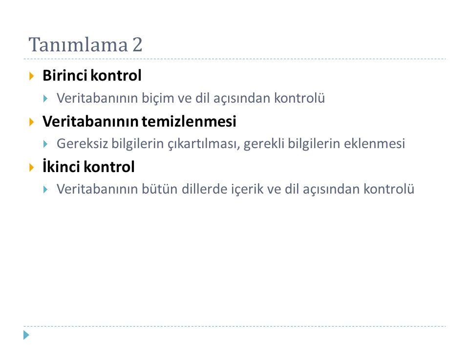 Tanımlama 2  Birinci kontrol  Veritabanının biçim ve dil açısından kontrolü  Veritabanının temizlenmesi  Gereksiz bilgilerin çıkartılması, gerekli bilgilerin eklenmesi  İkinci kontrol  Veritabanının bütün dillerde içerik ve dil açısından kontrolü