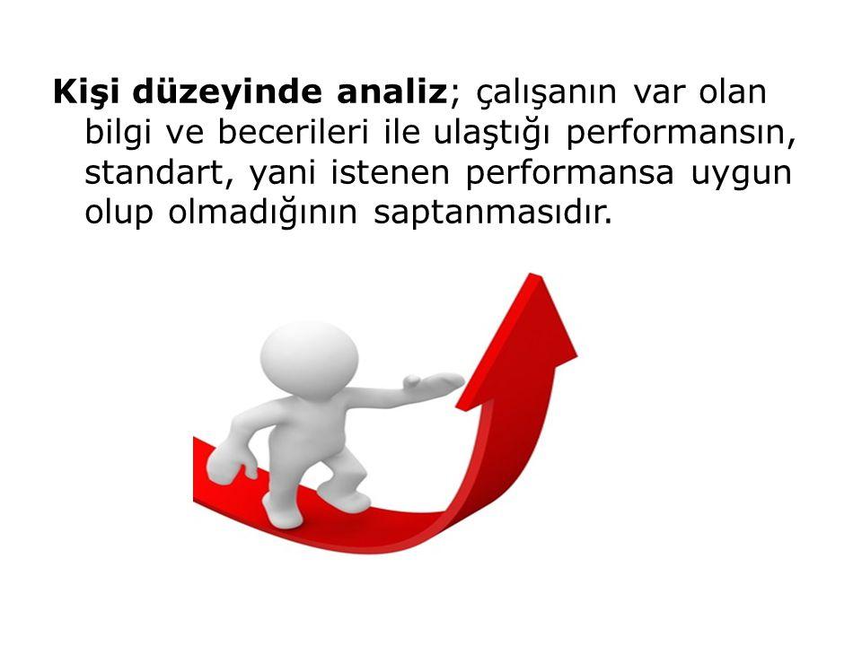 Kişi düzeyinde analiz; çalışanın var olan bilgi ve becerileri ile ulaştığı performansın, standart, yani istenen performansa uygun olup olmadığının saptanmasıdır.