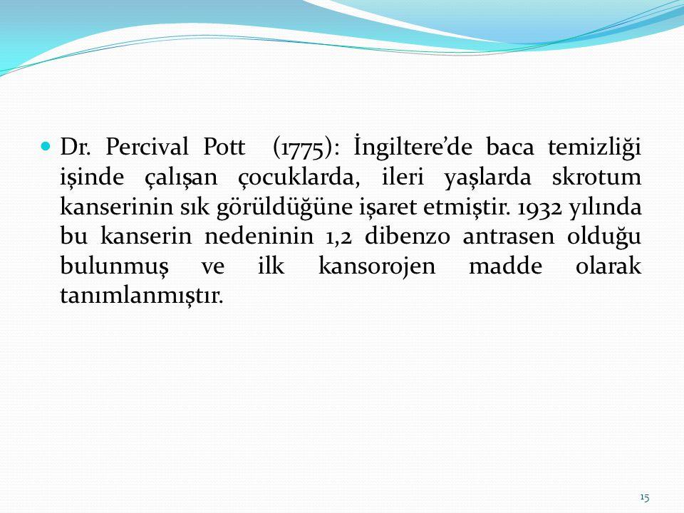 Dr. Percival Pott (1775): İngiltere'de baca temizliği işinde çalışan çocuklarda, ileri yaşlarda skrotum kanserinin sık görüldüğüne işaret etmiştir. 19