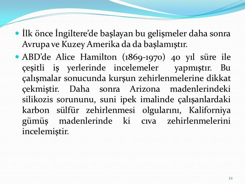 İlk önce İngiltere'de başlayan bu gelişmeler daha sonra Avrupa ve Kuzey Amerika da da başlamıştır. ABD'de Alice Hamilton (1869-1970) 40 yıl süre ile ç