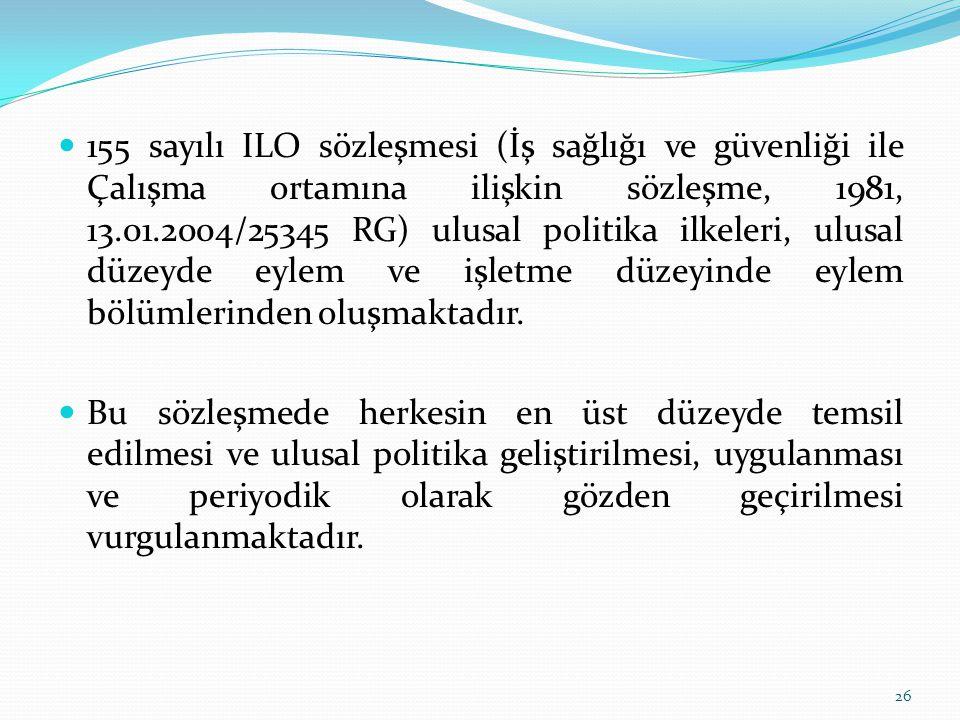 155 sayılı ILO sözleşmesi (İş sağlığı ve güvenliği ile Çalışma ortamına ilişkin sözleşme, 1981, 13.01.2004/25345 RG) ulusal politika ilkeleri, ulusal