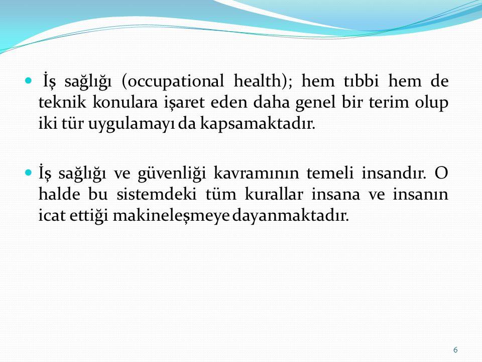 İş sağlığı (occupational health); hem tıbbi hem de teknik konulara işaret eden daha genel bir terim olup iki tür uygulamayı da kapsamaktadır. İş sağlı