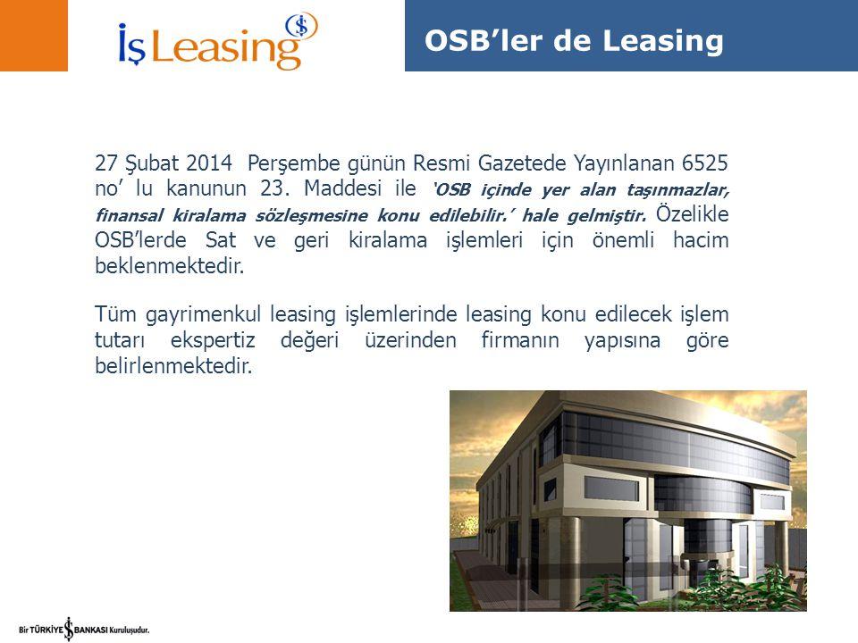 27 Şubat 2014 Perşembe günün Resmi Gazetede Yayınlanan 6525 no' lu kanunun 23. Maddesi ile 'OSB içinde yer alan taşınmazlar, finansal kiralama sözleşm