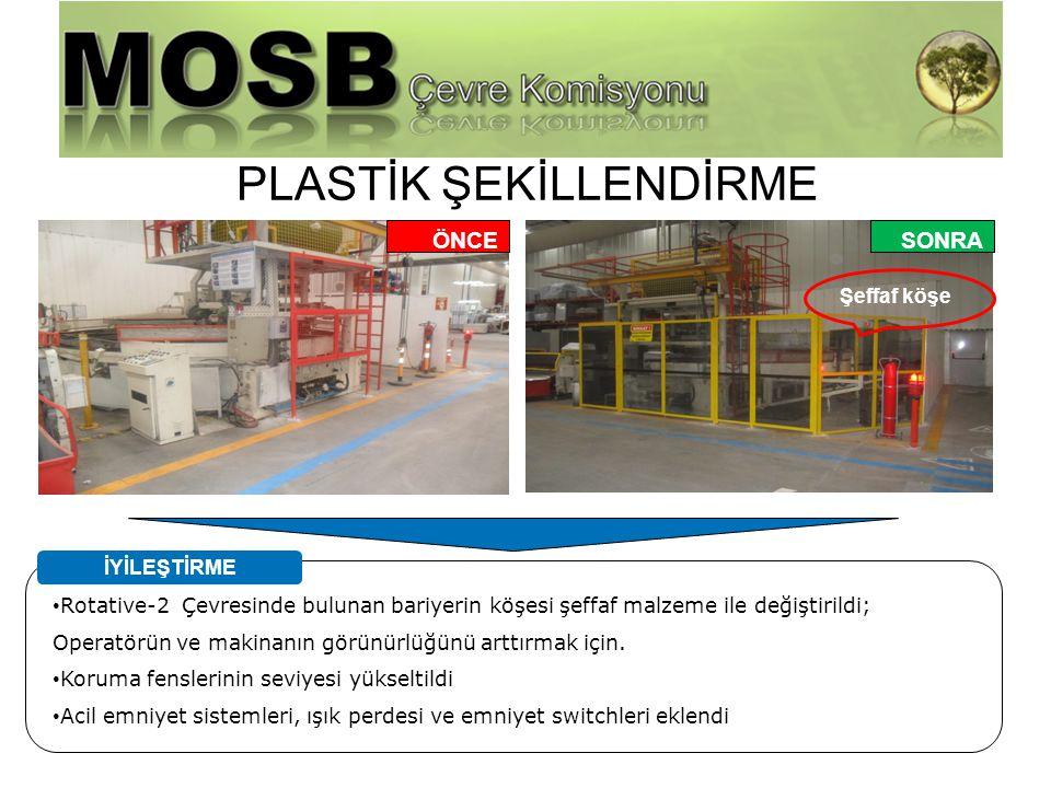 Harici Firma Yönetimi PLASTİK ŞEKİLLENDİRME Rotative-2 Çevresinde bulunan bariyerin köşesi şeffaf malzeme ile değiştirildi; Operatörün ve makinanın gö