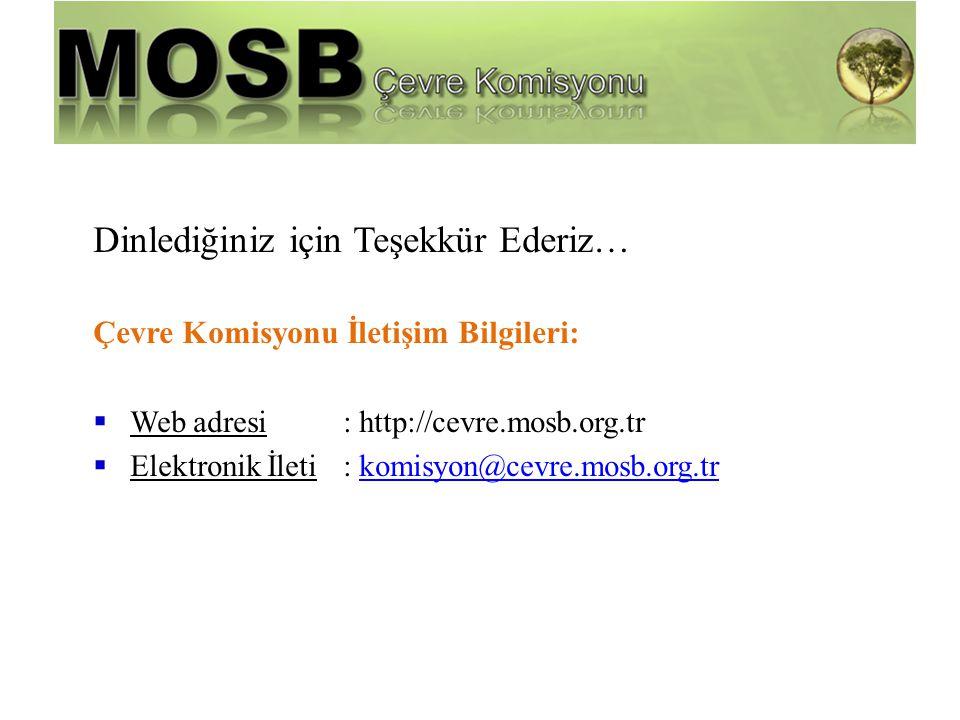 Dinlediğiniz için Teşekkür Ederiz… Çevre Komisyonu İletişim Bilgileri:  Web adresi : http://cevre.mosb.org.tr  Elektronik İleti : komisyon@cevre.mos
