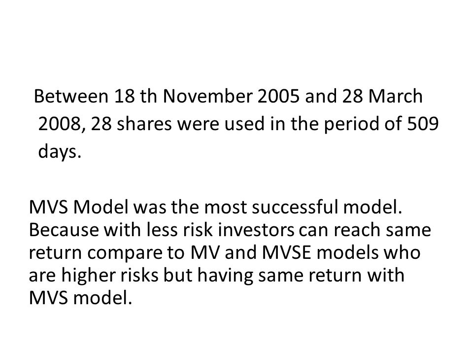Between 18 th November 2005 and 28 March 2008, 28 shares were used in the period of 509 days.