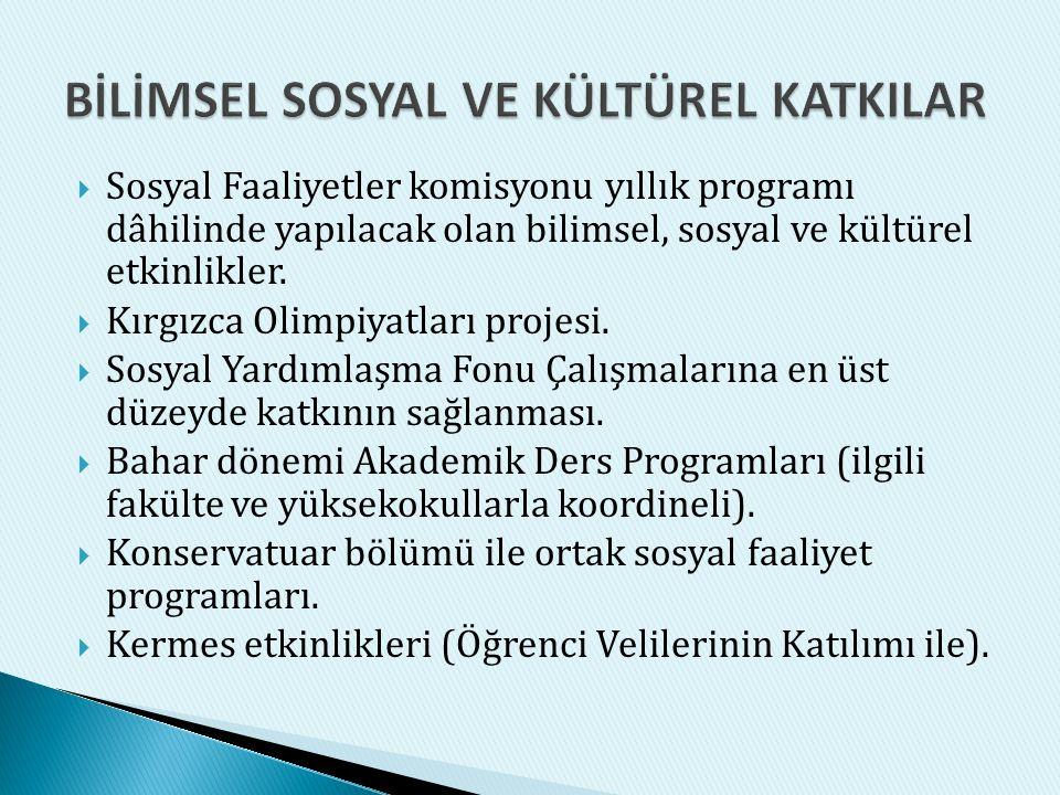  Sosyal Faaliyetler komisyonu yıllık programı dâhilinde yapılacak olan bilimsel, sosyal ve kültürel etkinlikler.