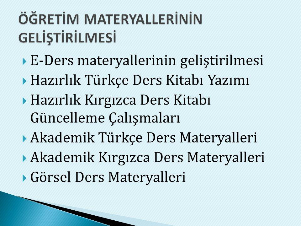  E-Ders materyallerinin geliştirilmesi  Hazırlık Türkçe Ders Kitabı Yazımı  Hazırlık Kırgızca Ders Kitabı Güncelleme Çalışmaları  Akademik Türkçe Ders Materyalleri  Akademik Kırgızca Ders Materyalleri  Görsel Ders Materyalleri