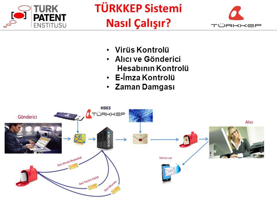 TÜRKKEP Sistemi Nasıl Çalışır? Virüs Kontrolü Alıcı ve Gönderici Hesabının Kontrolü E-İmza Kontrolü Zaman Damgası