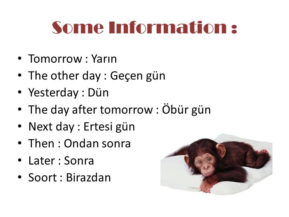 Some Information : Tomorrow : Yarın The other day : Geçen gün Yesterday : Dün The day after tomorrow : Öbür gün Next day : Ertesi gün Then : Ondan son