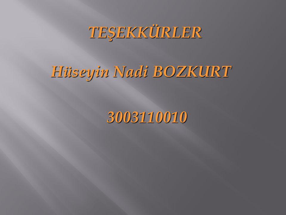 TEŞEKKÜRLER Hüseyin Nadi BOZKURT Hüseyin Nadi BOZKURT 3003110010 3003110010