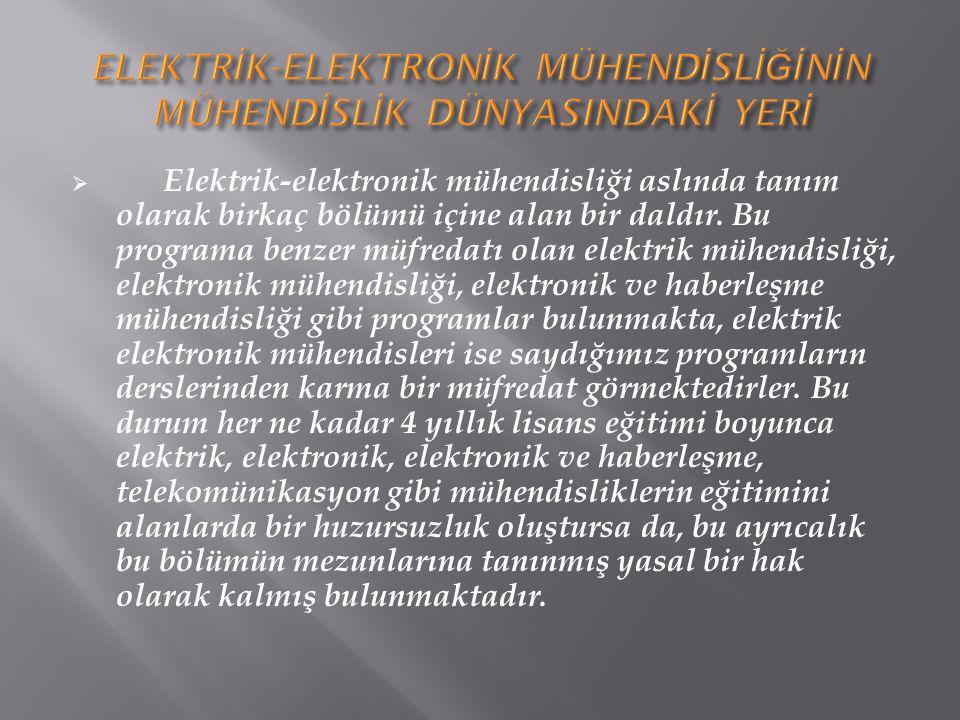  Elektrik-elektronik mühendisliği aslında tanım olarak birkaç bölümü içine alan bir daldır. Bu programa benzer müfredatı olan elektrik mühendisliği,