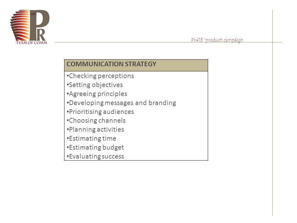 "Pr415 ""product campaign COMMUNICATION STRATEGY Checking perceptions Setting objectives Agreeing principles Developing messages and branding Prioritisi"