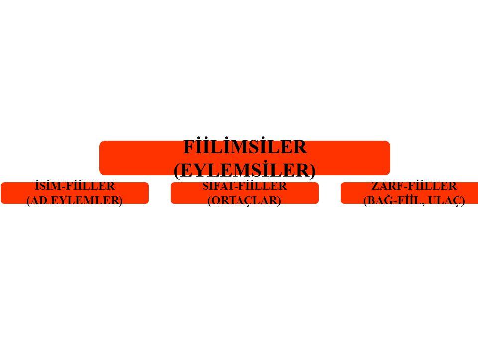 FİİLİMSİLER (EYLEMSİLER) İSİM-FİİLLER (AD EYLEMLER) SIFAT-FİİLLER (ORTAÇLAR) ZARF-FİİLLER (BAĞ-FİİL, ULAÇ)