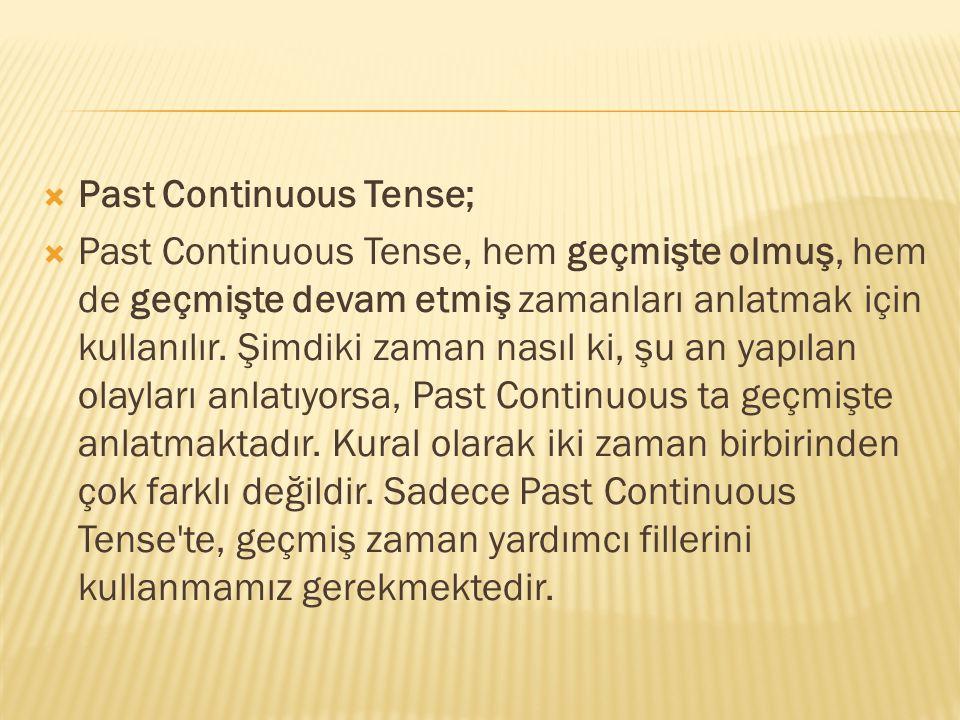  Past Continuous Tense;  Past Continuous Tense, hem geçmişte olmuş, hem de geçmişte devam etmiş zamanları anlatmak için kullanılır. Şimdiki zaman na