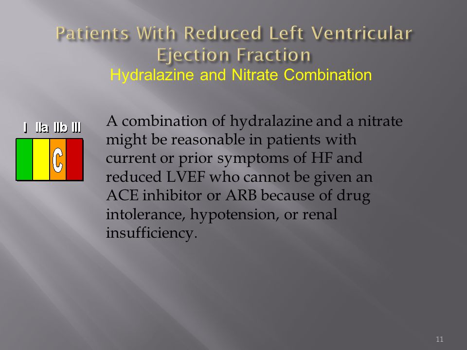 11 Hydralazine and Nitrate Combination A combination of hydralazine and a nitrate might be reasonable in patients with current or prior symptoms of HF
