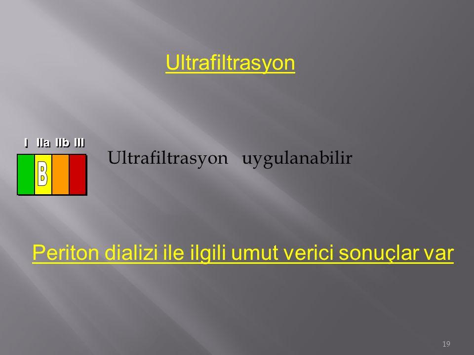 19 Ultrafiltrasyon uygulanabilir Ultrafiltrasyon Periton dializi ile ilgili umut verici sonuçlar var