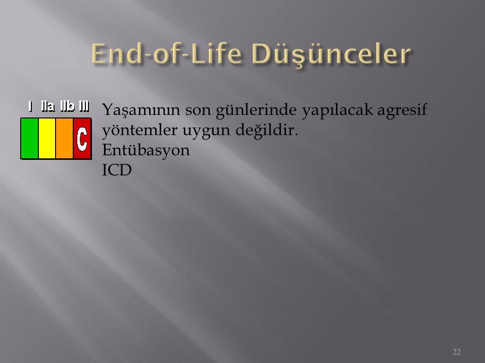 22 Yaşamının son günlerinde yapılacak agresif yöntemler uygun değildir. Entübasyon ICD