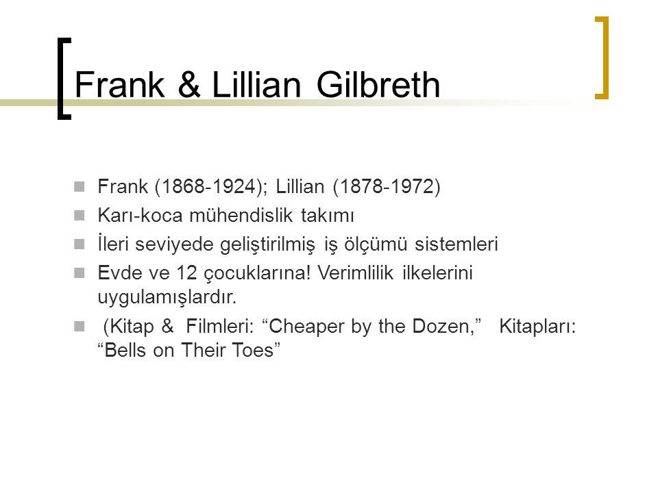 Frank & Lillian Gilbreth Frank (1868-1924); Lillian (1878-1972) Karı-koca mühendislik takımı İleri seviyede geliştirilmiş iş ölçümü sistemleri Evde ve