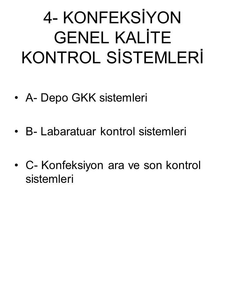 4- KONFEKSİYON GENEL KALİTE KONTROL SİSTEMLERİ A- Depo GKK sistemleri B- Labaratuar kontrol sistemleri C- Konfeksiyon ara ve son kontrol sistemleri
